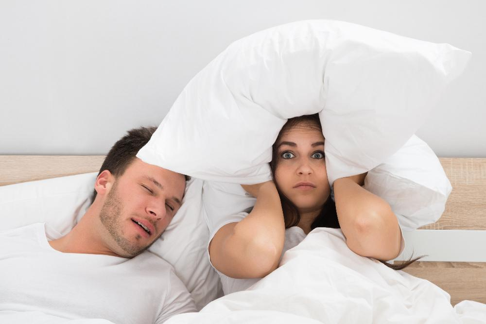 Woman awake from husbands snoring due to Sleep Apnea in 91405